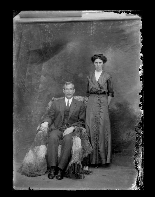 Dave and Bessie Anderson, Portrait by C.S. WIng, c. 1910, Quesnel and District Museum and Archives #P2004_1_111