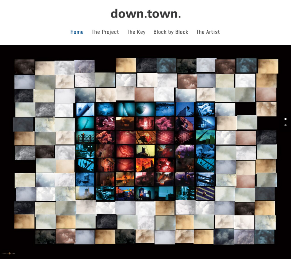 down. town. Screen shot of home page, 2015