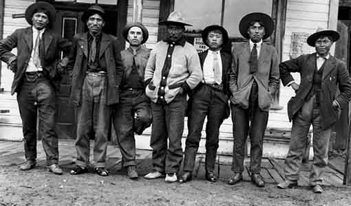 Jerry Boyd, Captain Mark Mack, John Lazzarin, Chief Michel, unknown Chinese man, Moffat Harris, Chief Morris Molize, Photograph by C.D. Hoy, c. 1910, Barkerville Historic Town, P.1887