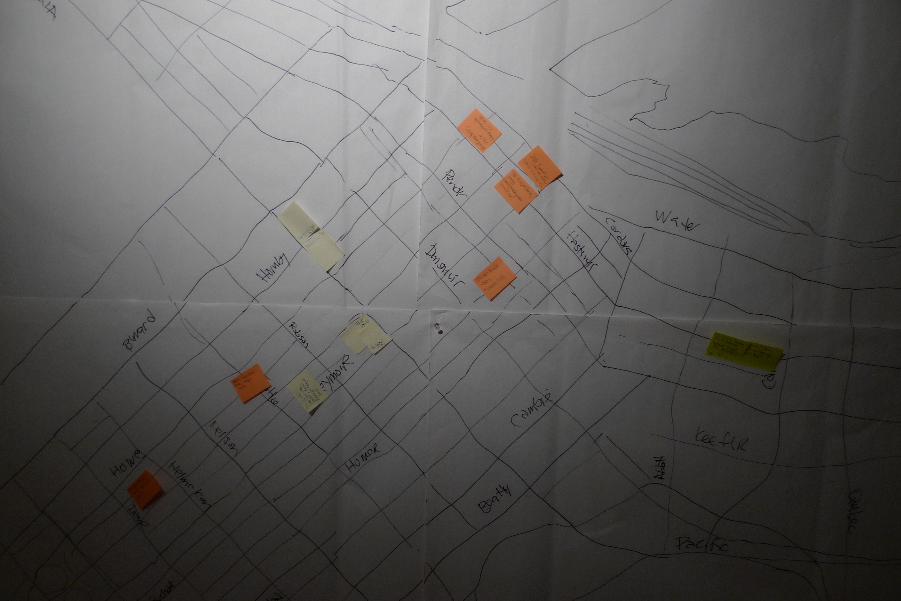 Hand-drawn map at studio, beginning to catalogue demolitions, July 2015